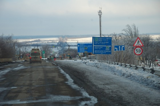 Road post Cross at Debaltseve Ukraine