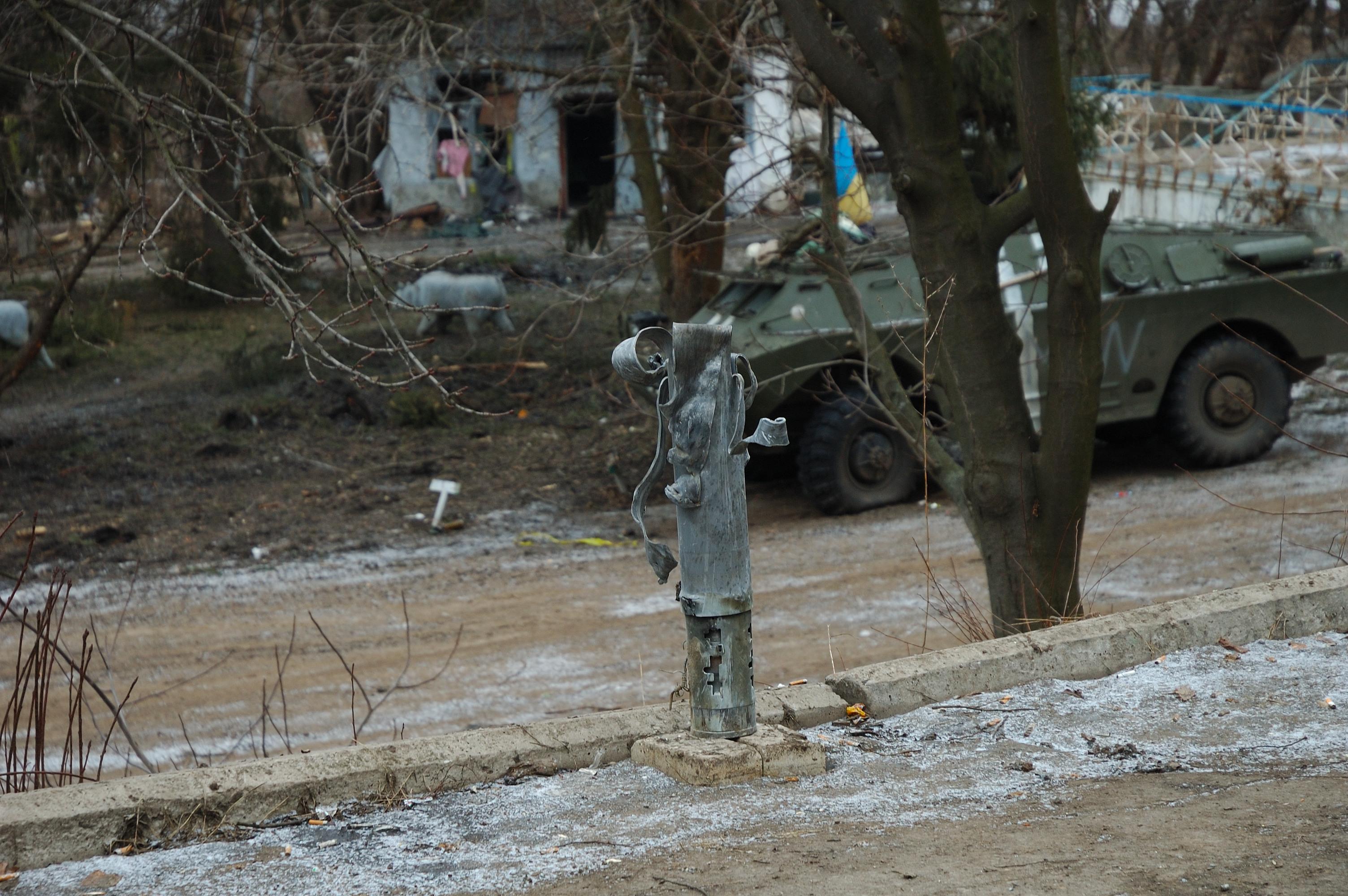 Debaltseve MLRS rocket damage