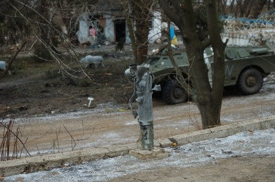 Debaltseve MLRS rocket damage