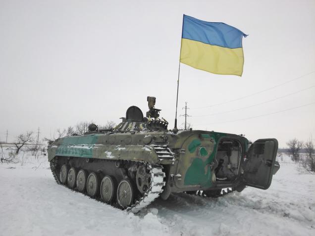 Ukraine army APC Debaltseve